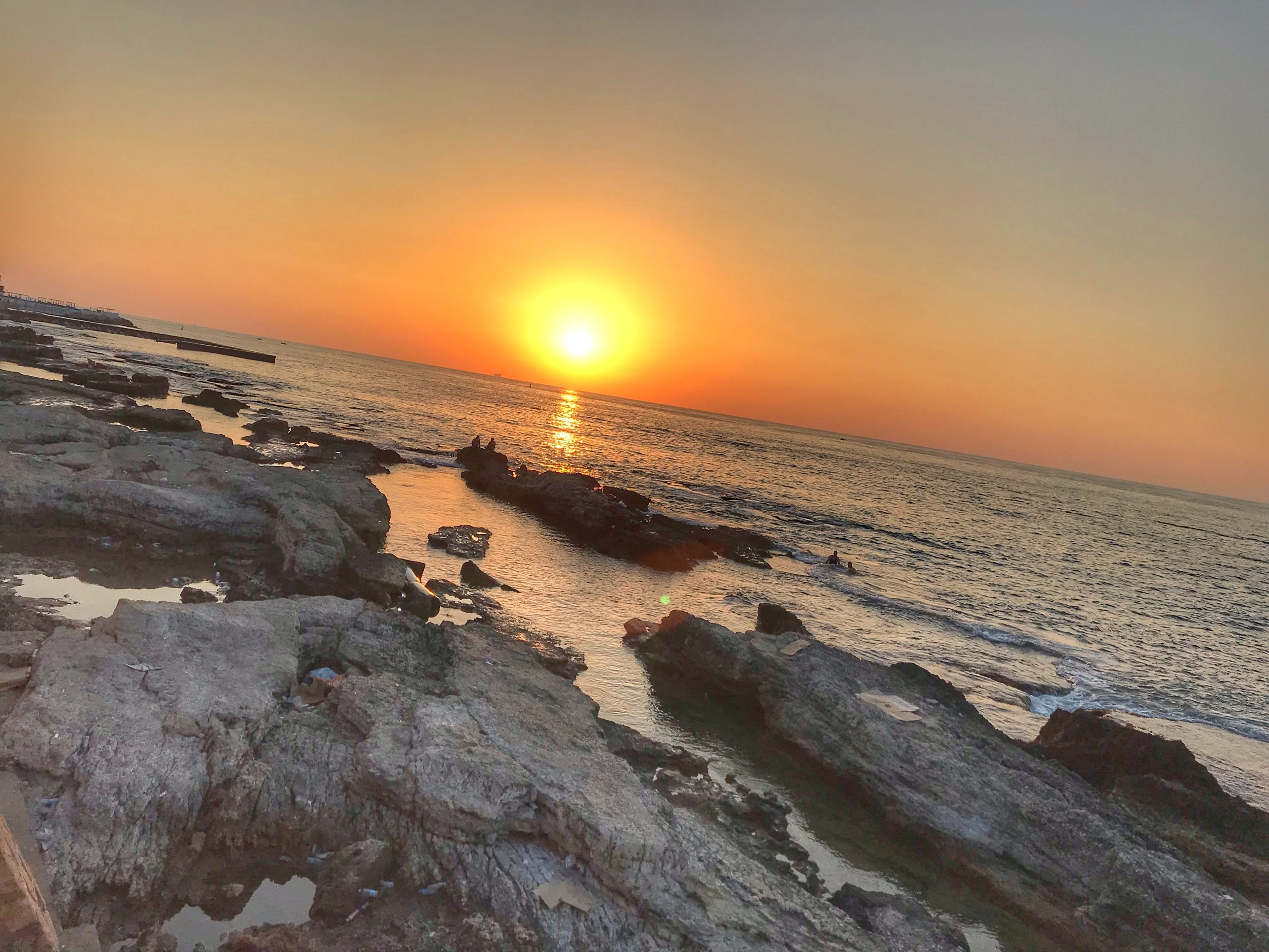 Sunset from the Corniche over the Mediterranean Sea. My favorite. Beirut, Lebanon. August 7, 2019.