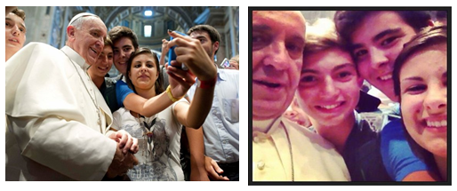 Can we just pause and smile at how uncomfortable Pope Francis looks in this selfie, though? It's darling.