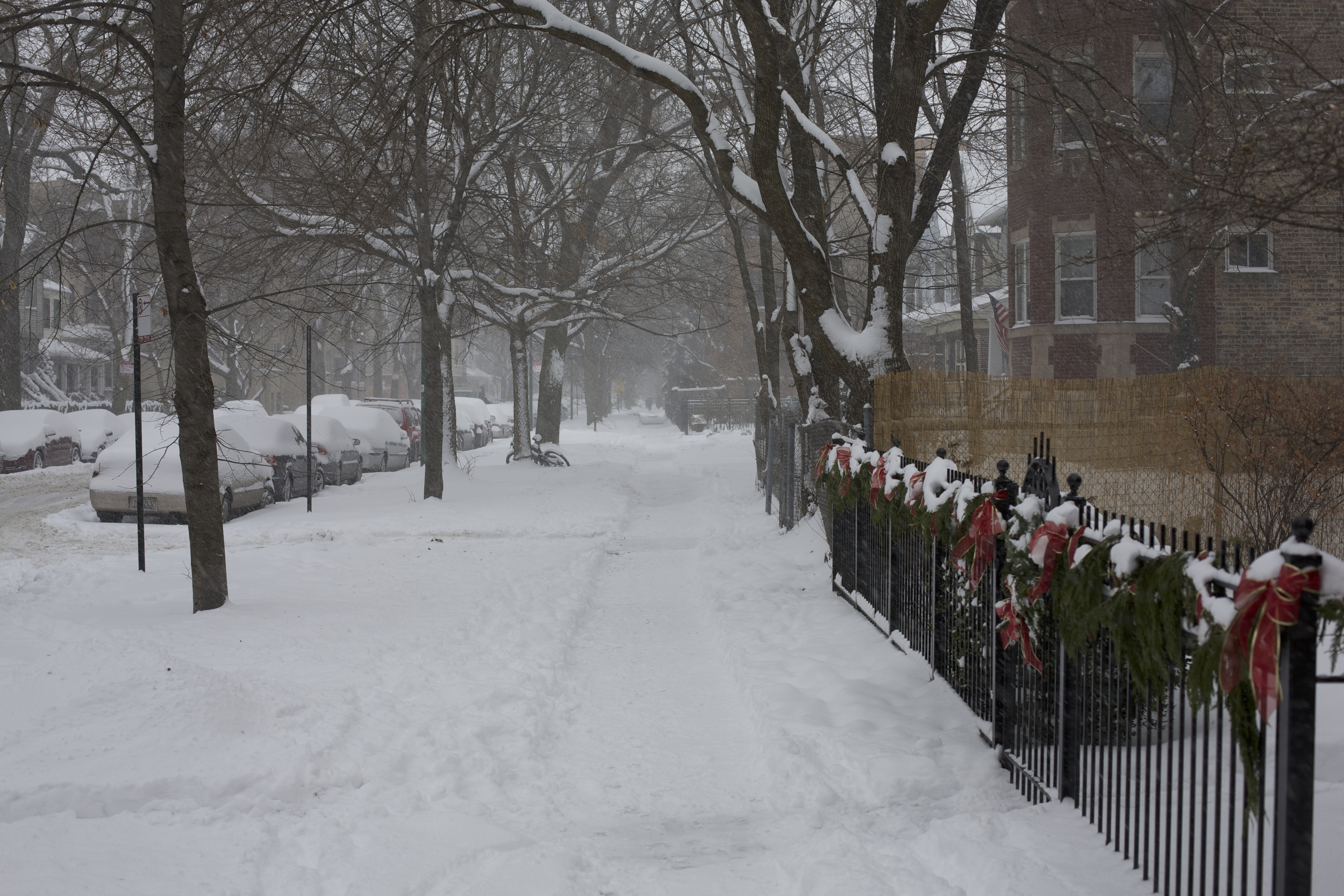 The Sidewalks were barely visible, even though they had been shoveled multiple times