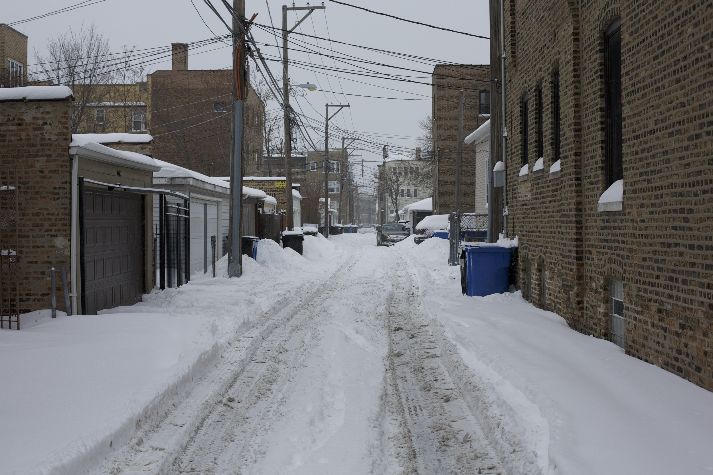 Generally unplowed, the Alleys are only disturbed by the tracks of cars as they attempt to free themselves