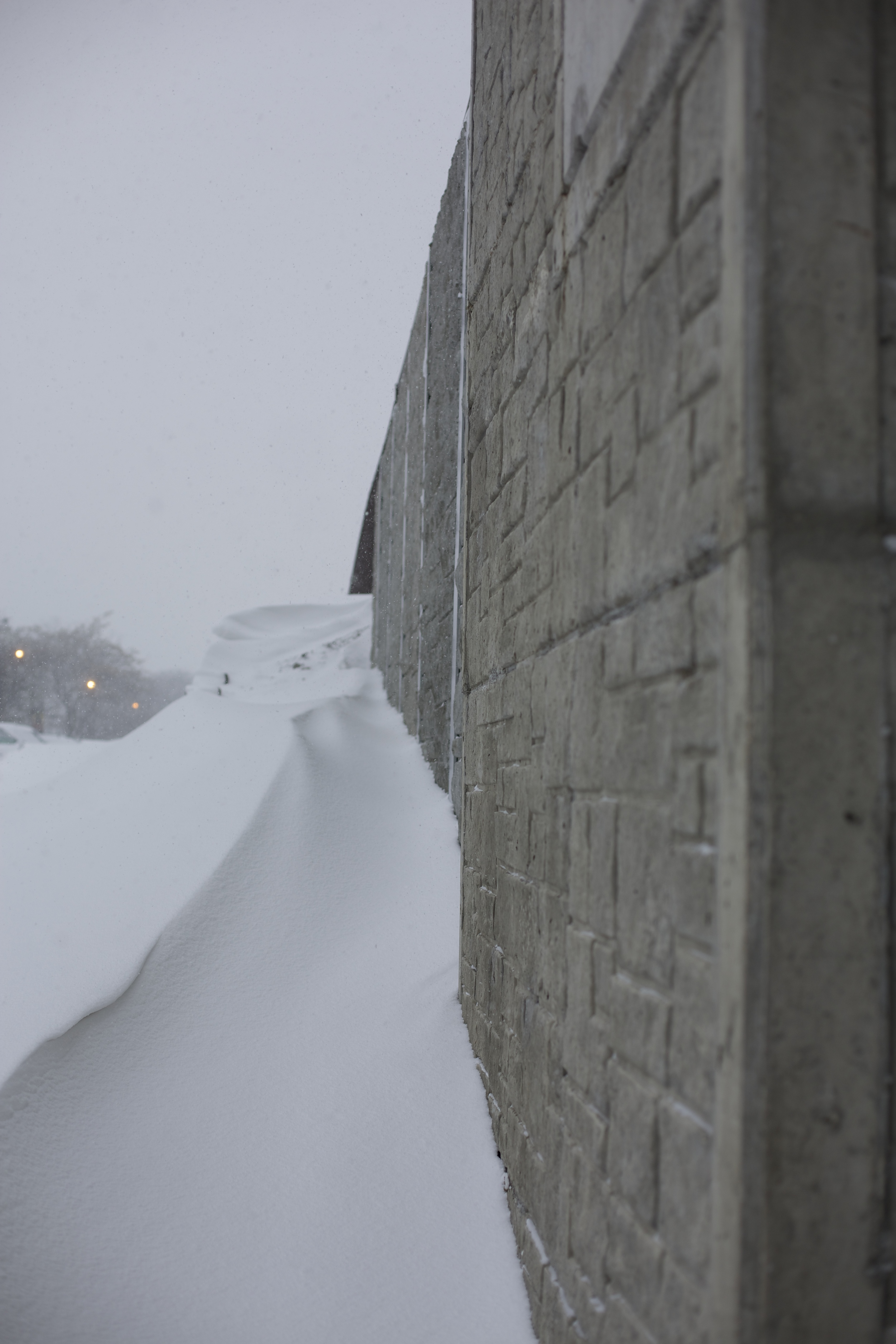 The Metra overpass focuses the wind, creating delicate snowdrift ranges
