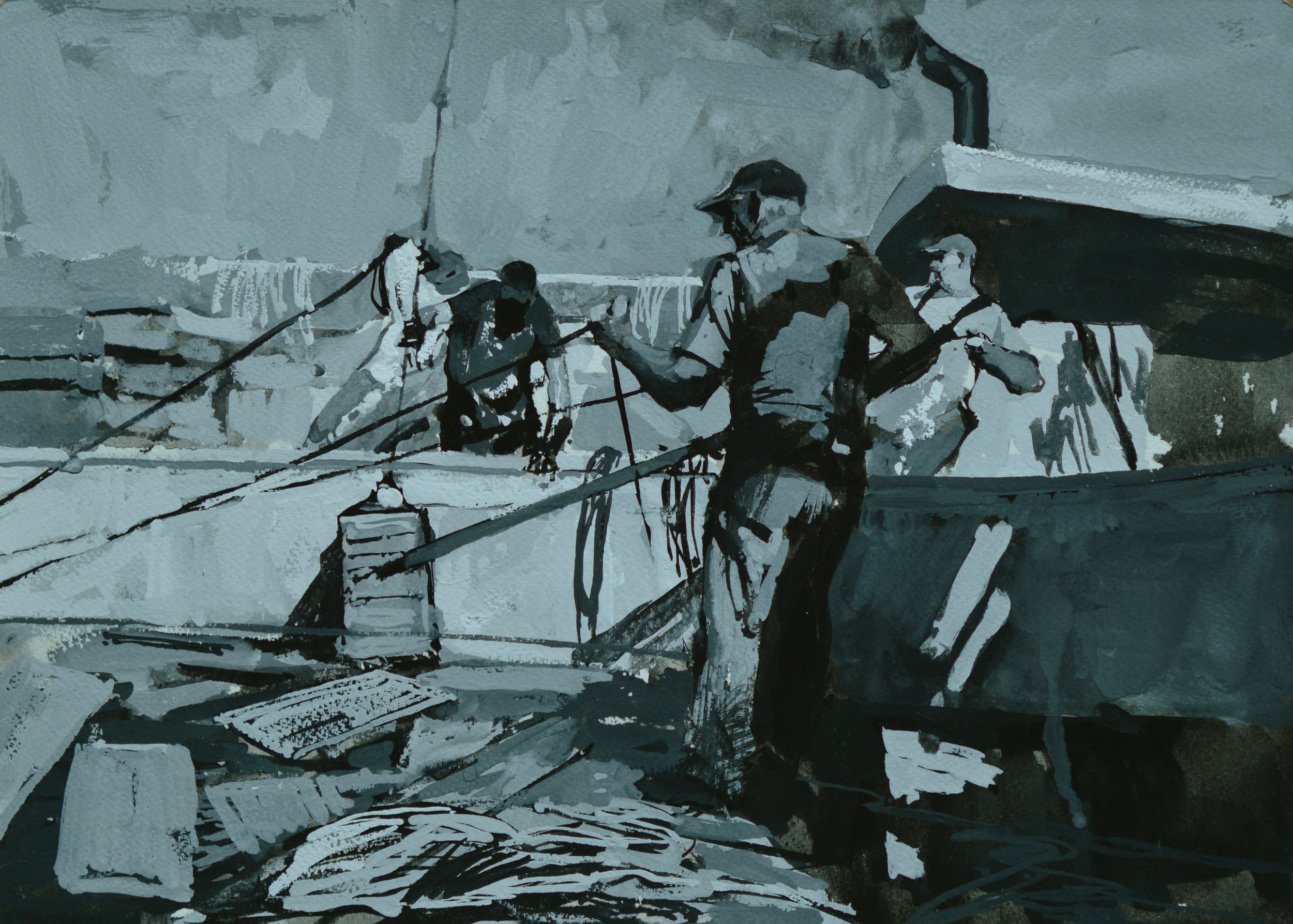 """Timur Akhriev  Title:Picking Up Lobsters (Study N2)  10,1/4"""" x 14, 1/4"""" Gouache on Watercolor Paper , 2009. Unframed $550"""