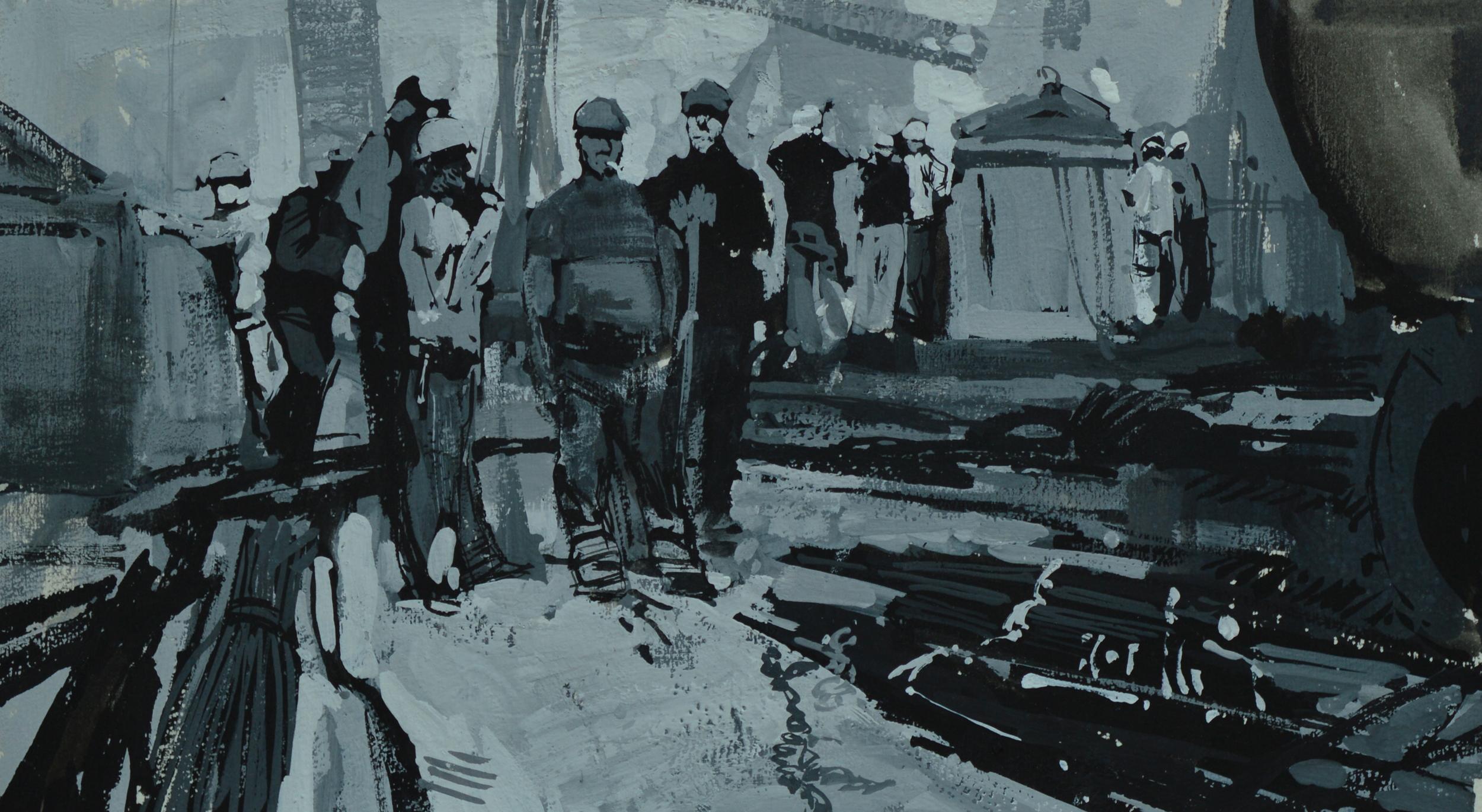 """Timur Akhriev  Title:On a Break.  7"""" x 12"""". Gouache on Watercolor Paper. 2009. Unframed. Sold"""