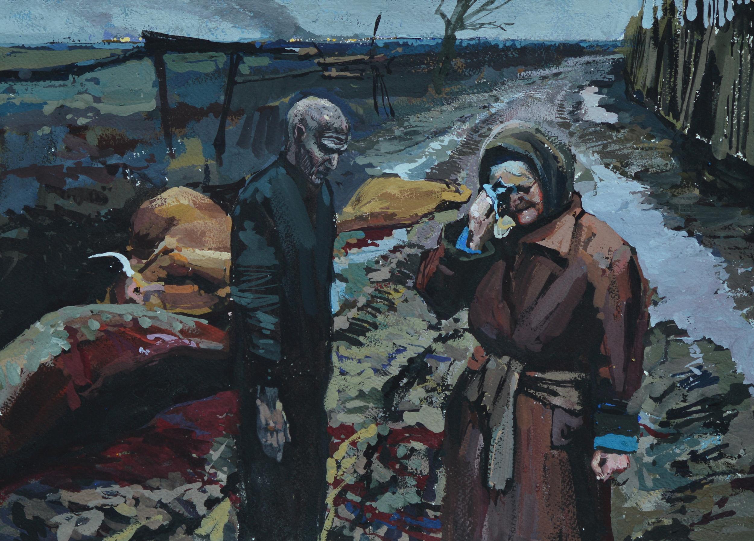 "Timur Akhriev  Title:What's Left (Study)  11"" x 14"" Gouache on Watercolor Paper. 2010. Sold"