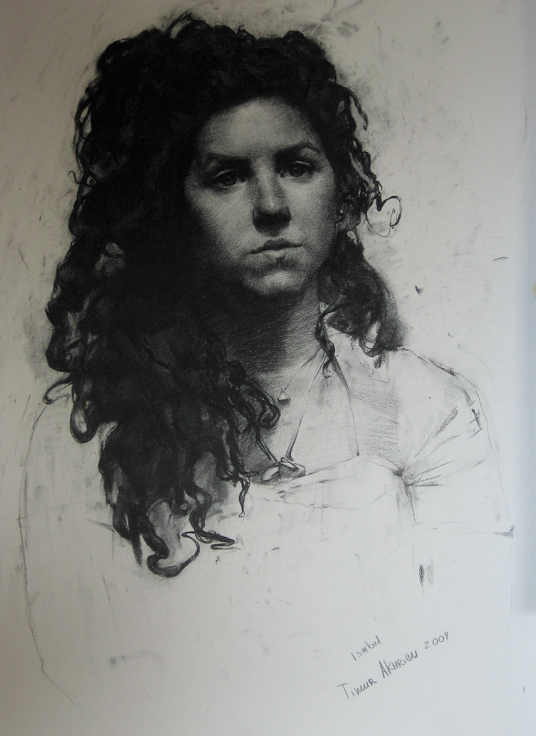 Timur Akhriev.   Title:Isabel  Charcoal on Paper. Private Collection. 2007.