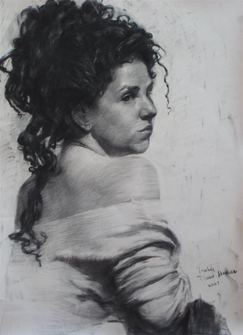 Timur Akhriev.  Title:Isabel in Three Quarters  Charcoal on Paper. 2007. Private Collection