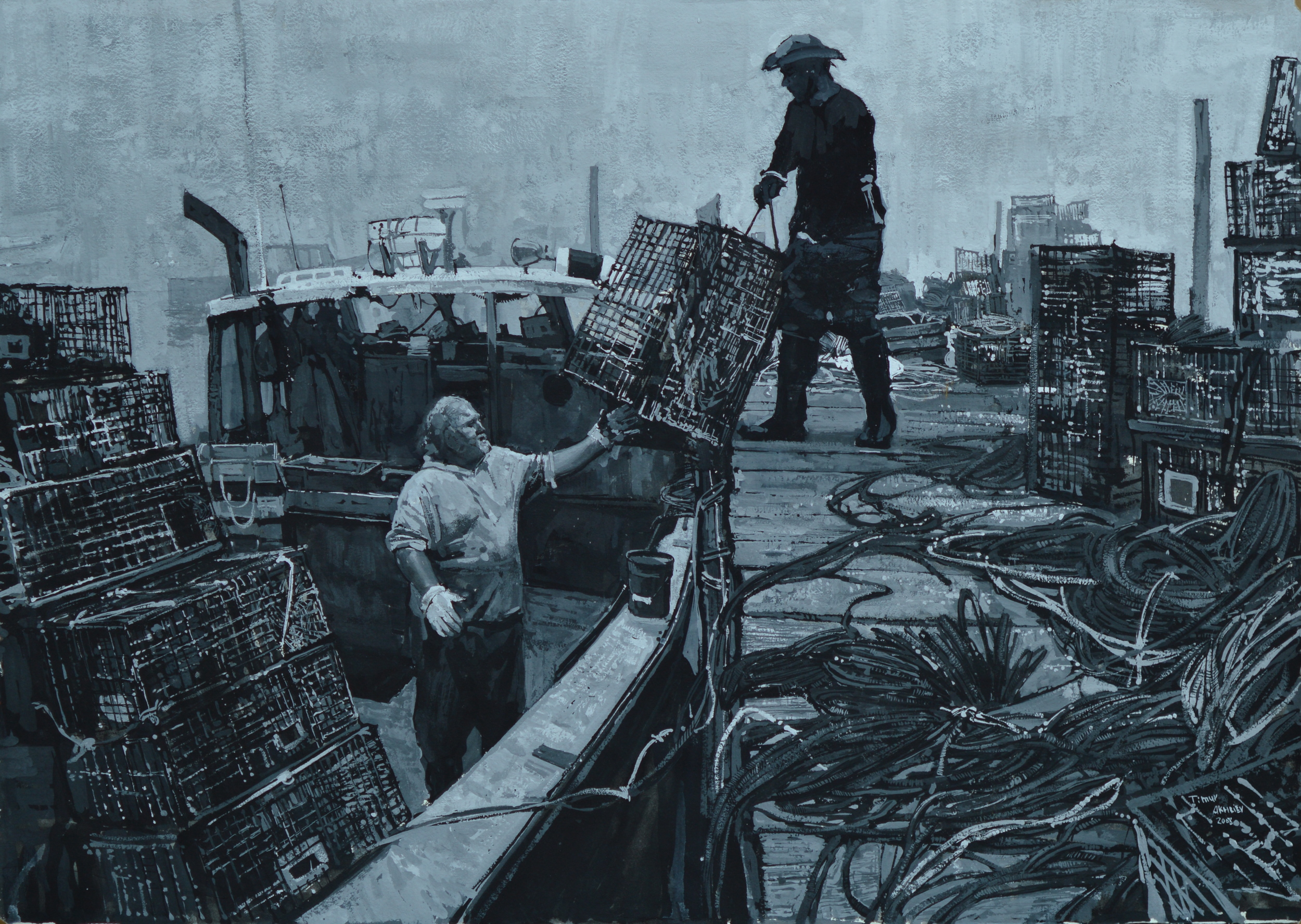 "Timur Akhriev Title: Last Load 27,5"" x 19,5"" ,Gouache on Watercolor Paper , 2008 Framed. $2500"