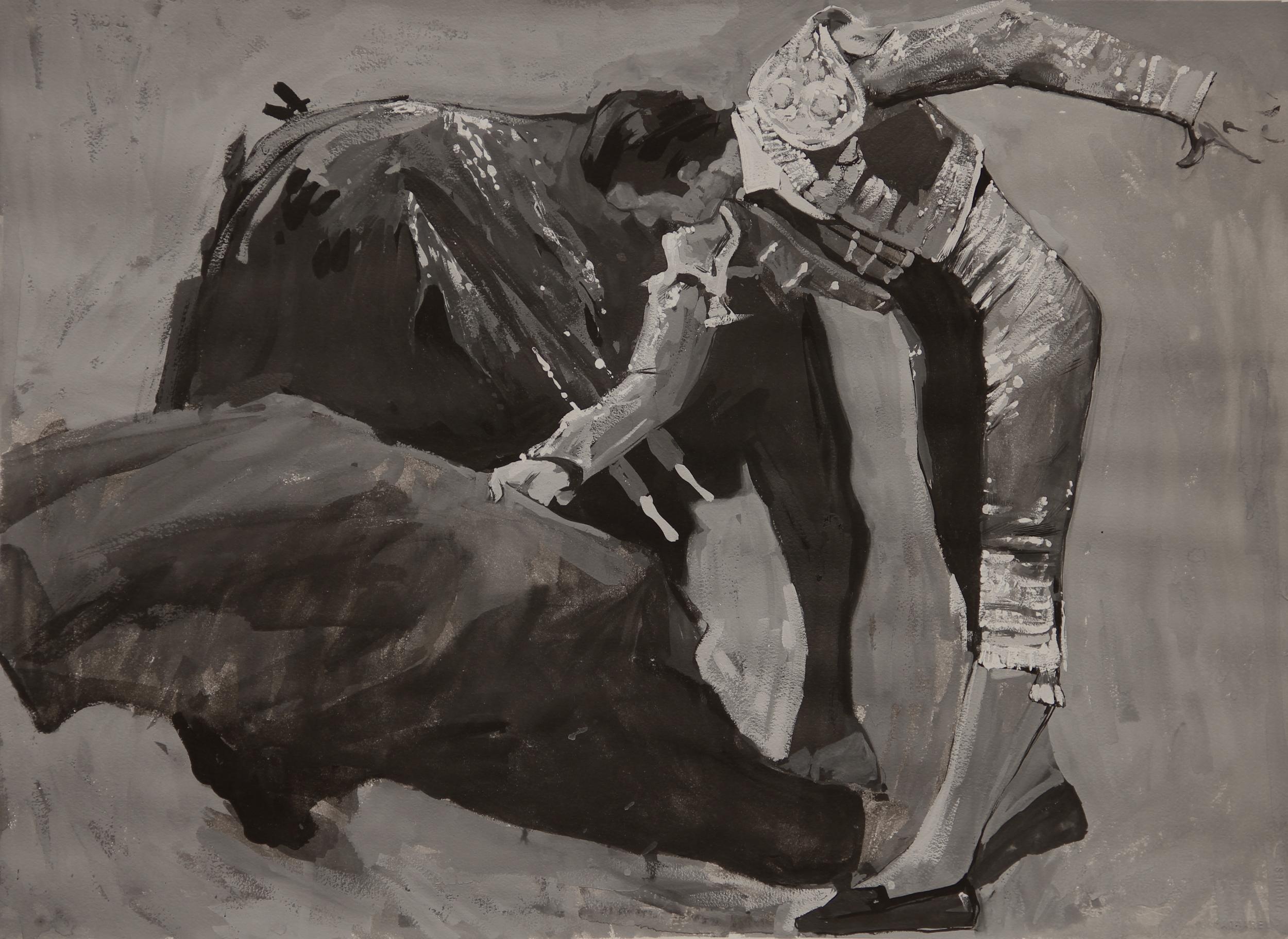 "Timur Akhriev Title: Mato Size: 22"" x 30"" Gouache on Watercolor Paper. 2013. Unframed. $2700"