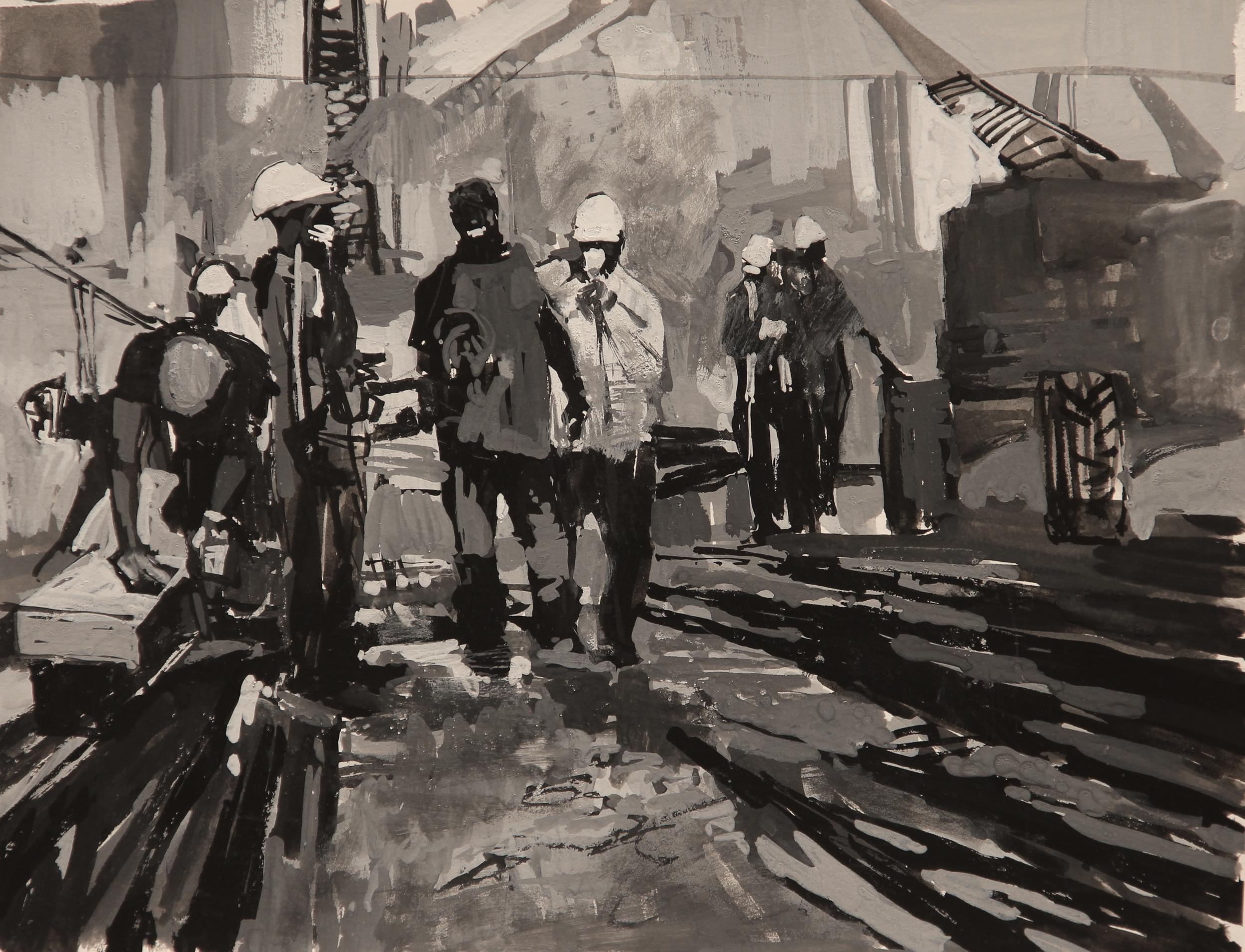 "Timur Akhriev Title: On the Break Study N2 Size:10"" x 12.5"" Gouache on Watercolor Paper. 2009. Unframed. Sold"