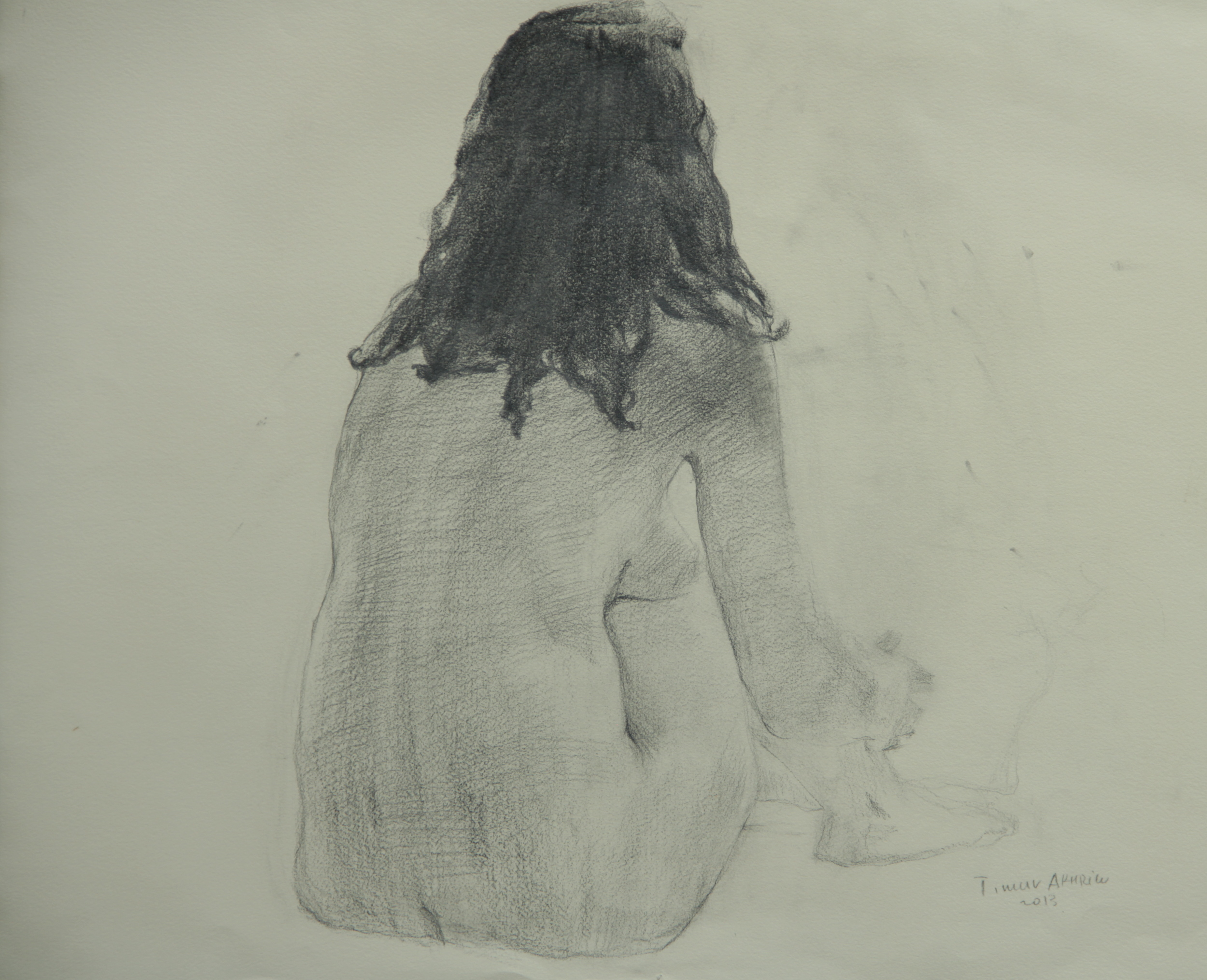 "Timur Akhriev Title: Nude, Back Pose  19,75' x 22"", Graphite on Paper, 2013.   $1000"