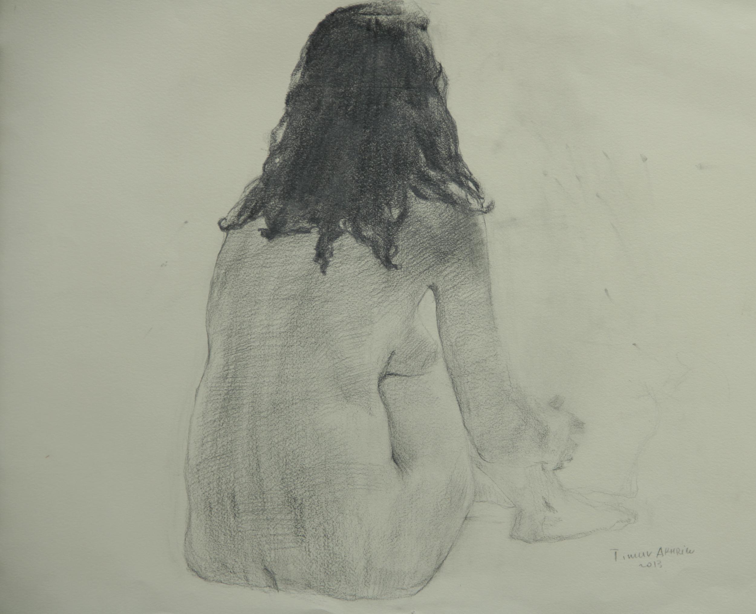 "Timur Akhriev Title: Nude, Back Pose 19,75' x 22"", Graphite on Paper, 2013.  $1000"