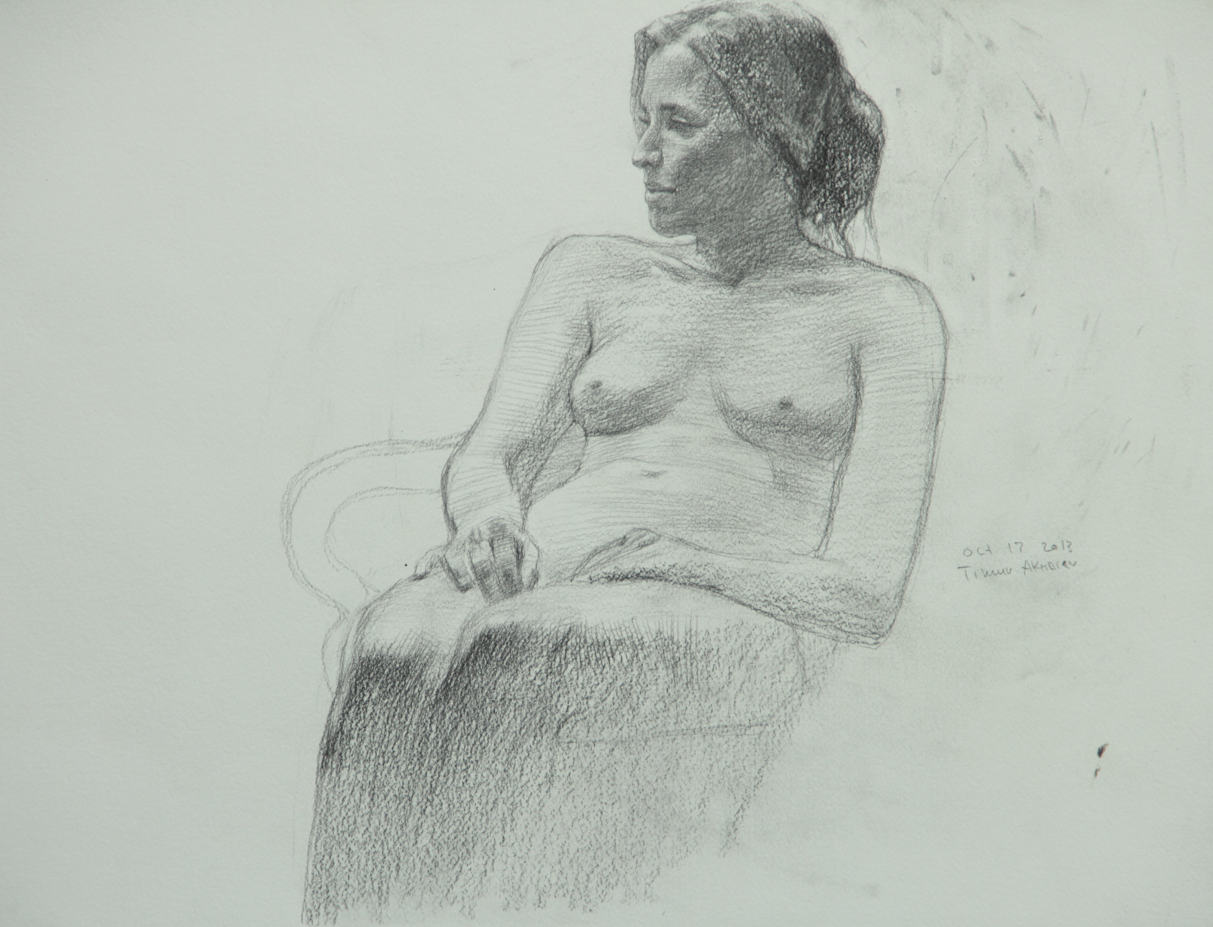 """Timur Akhriev Title: Nude in Three Quarters 14,75"""" x 17"""", Graphie on Paper, 2013.  $550"""