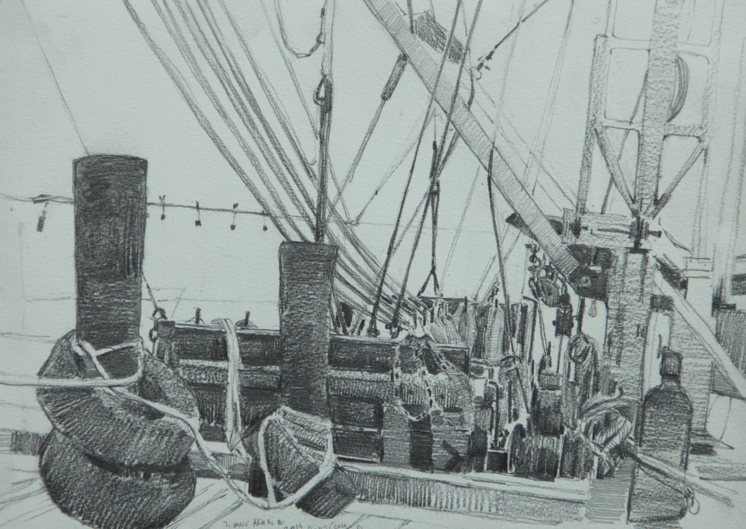 """Timur Akhriev Title: The Wires 10"""" x 14"""", Graphite on Paper, 2014.  $350"""
