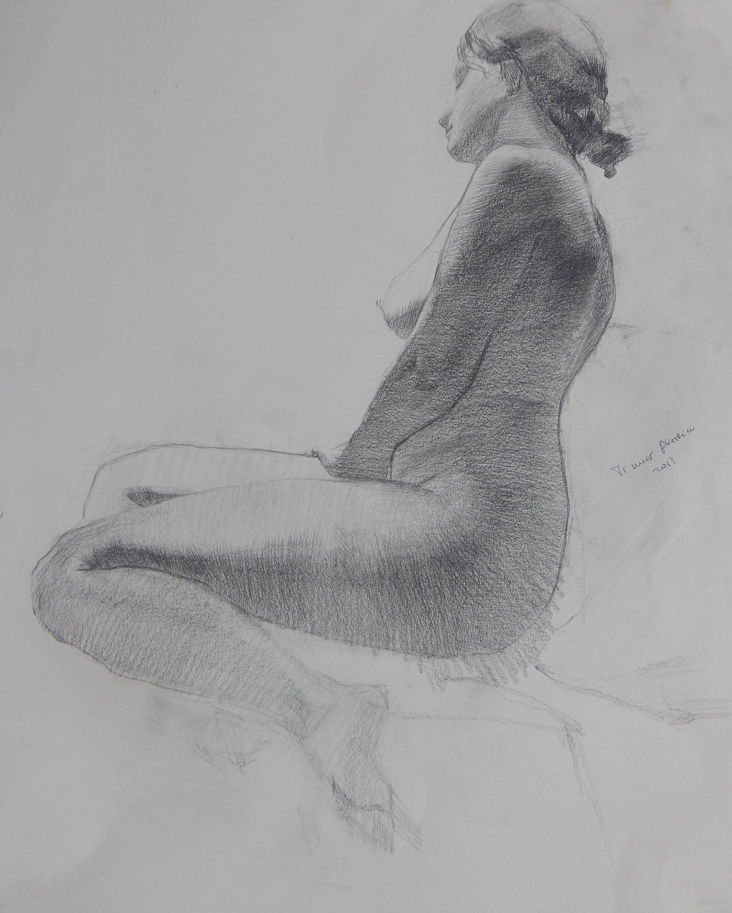 """Timur Akhriev Title: Thoughtful 19,75"""" x 23,75"""", Graphite on Paper, 2014. $1300"""
