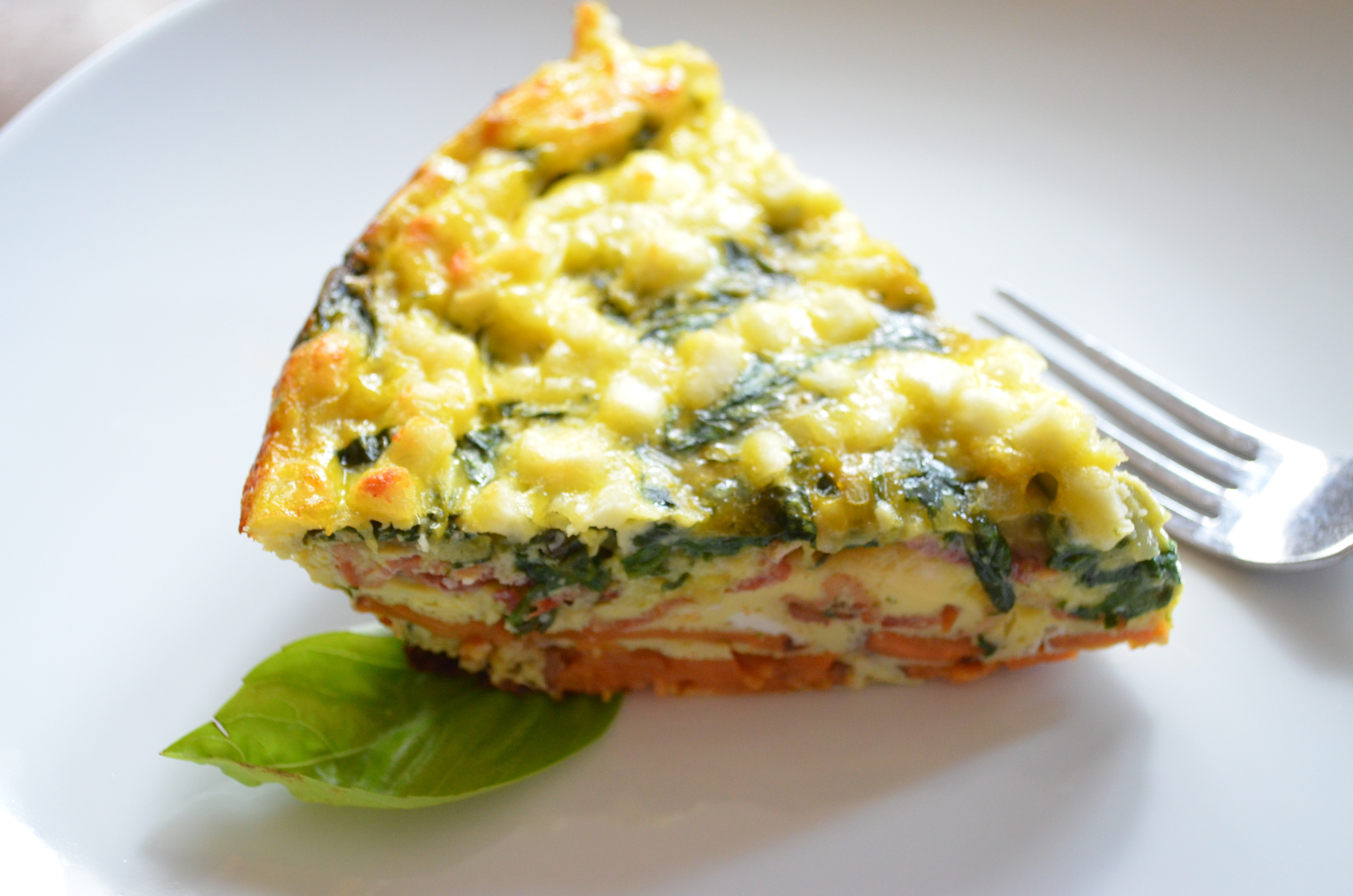 Zucchini and Spinach Fritatta with Sweet Potato and Bacon Crust