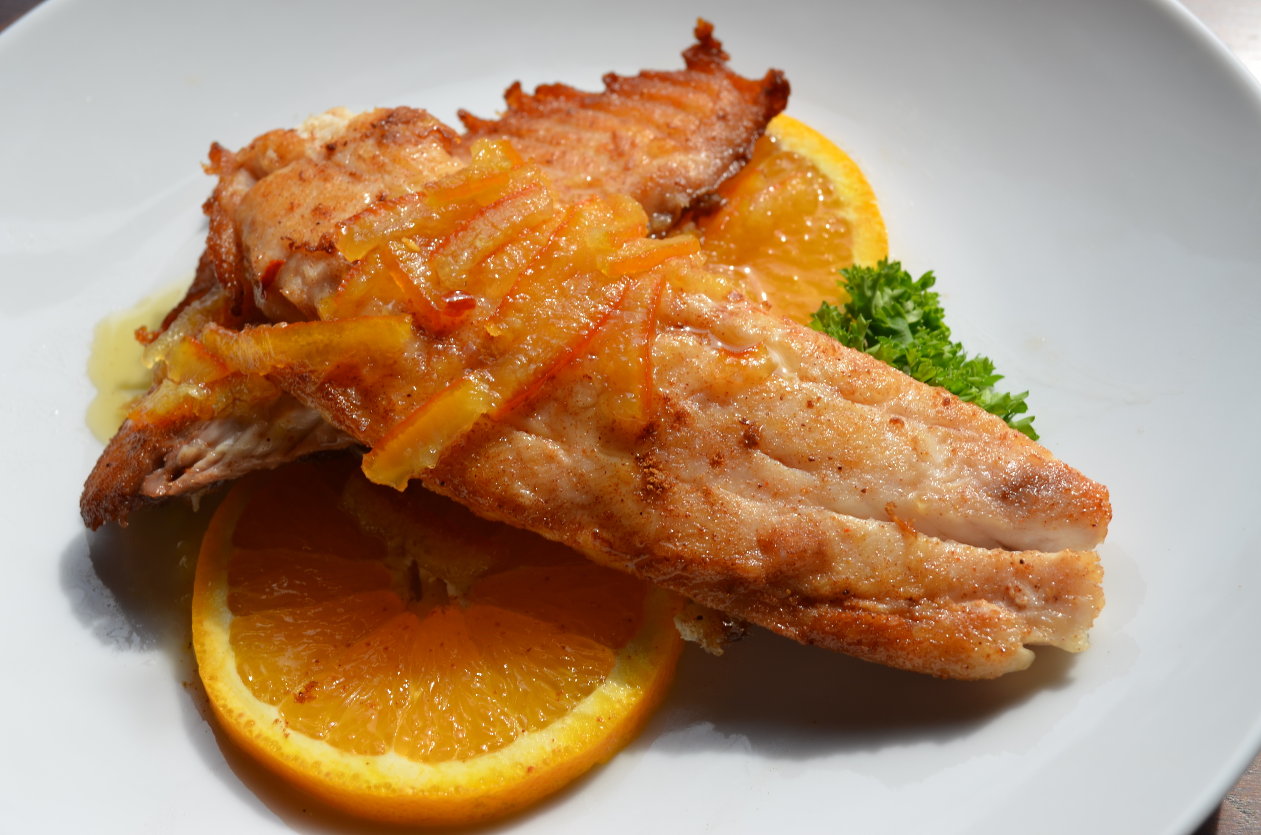 Pan-Seared Five-Spice Tilapia with Hot Orange-Ginger Sauce
