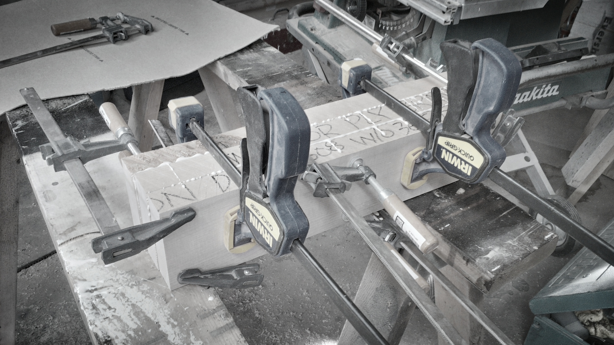Clamping a block to create a tangental curved handrail