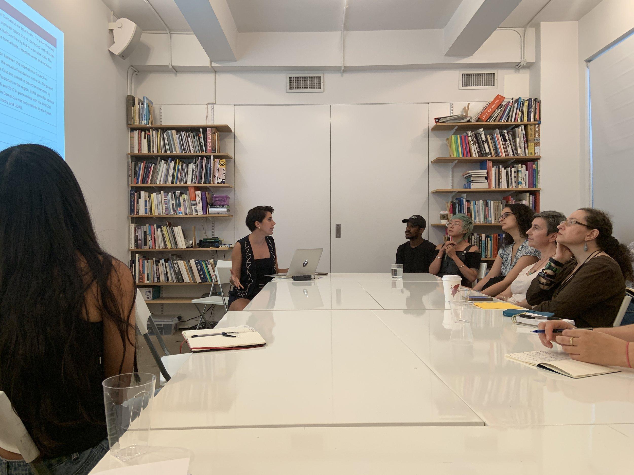 "Morehshin Allahyari, ""Digital Colonialism."" Presentation at ICI, August 12, 2019. Photo: Samantha Jacobson"