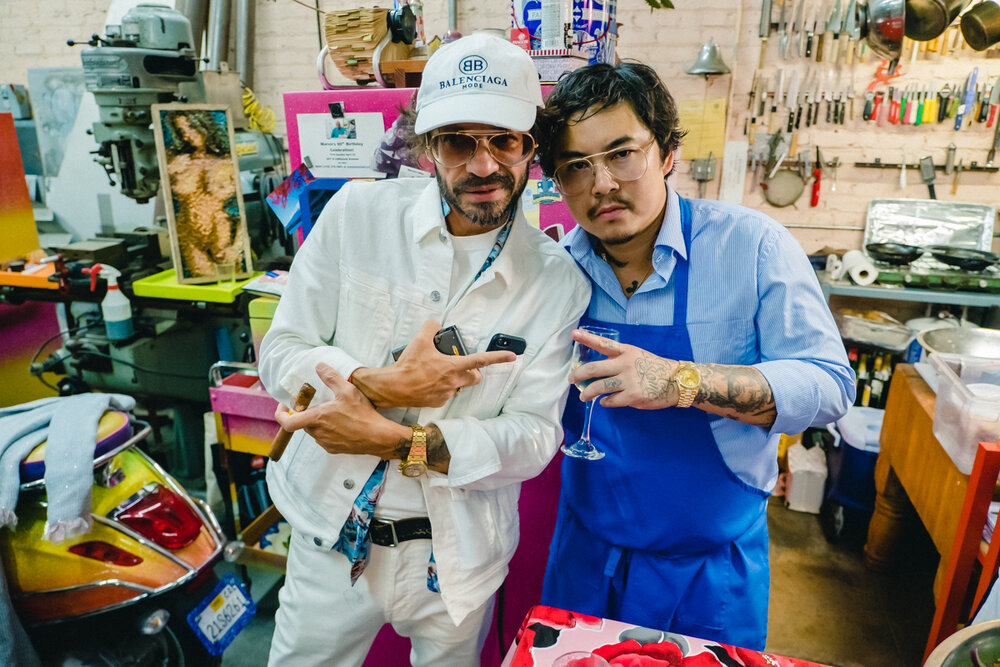 Purple Magazine co-founder, Olivier Zahm, with Night+Market owner, Kris Yenbamroong. Purple + Dover Street Market Dinner, Los Angeles. September 2019  Original story via  Purple Diary