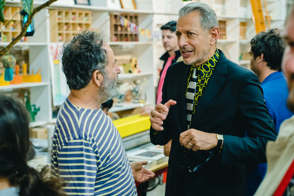 Peter Shire and Jeff Goldblum. Purple + Dover Street Market Dinner, Los Angeles. September 2019  Original story via  Purple Diary