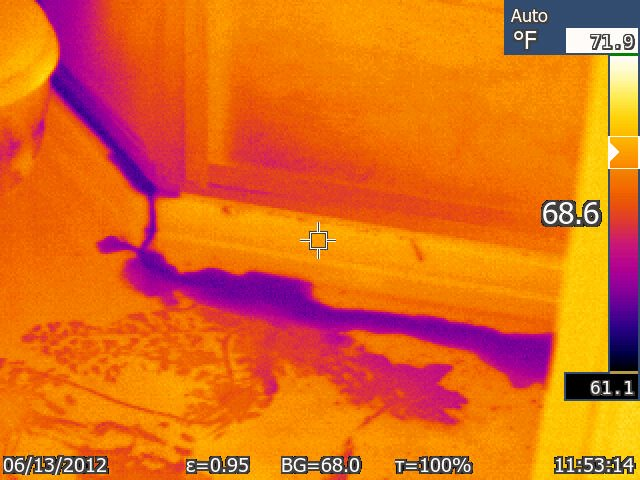 The IR camera detects the leak and allows us to trace it back to the source.