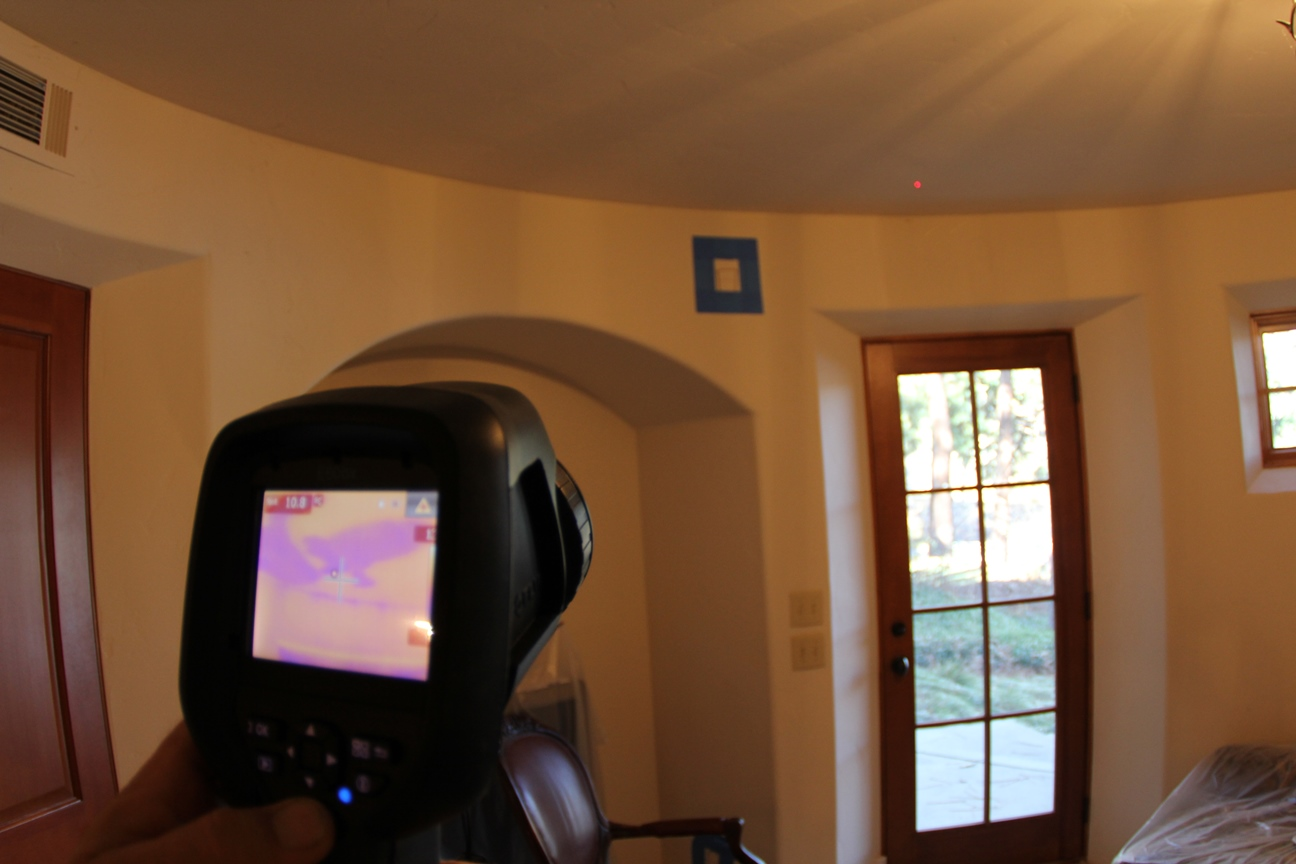 Notice the leak in the ceiling is shown in purple. It was not noticeable without the camera.