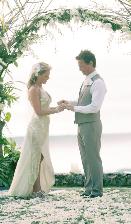 The beautiful Stacey in her original Deborah Selleck wedding dress, with beau Gabriel at their Bali ceremony.