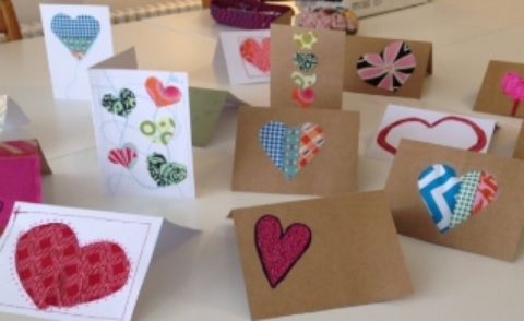 Sewing Valentine's Day Cards - variety