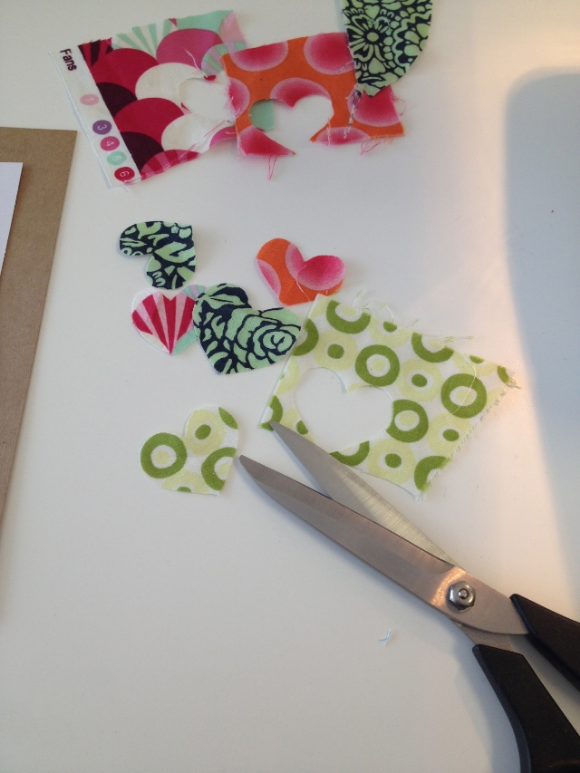 Sewing Valentine's Day Cards - Cut Out Fabric Shapes