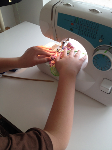 Making a bib at Sew Giving