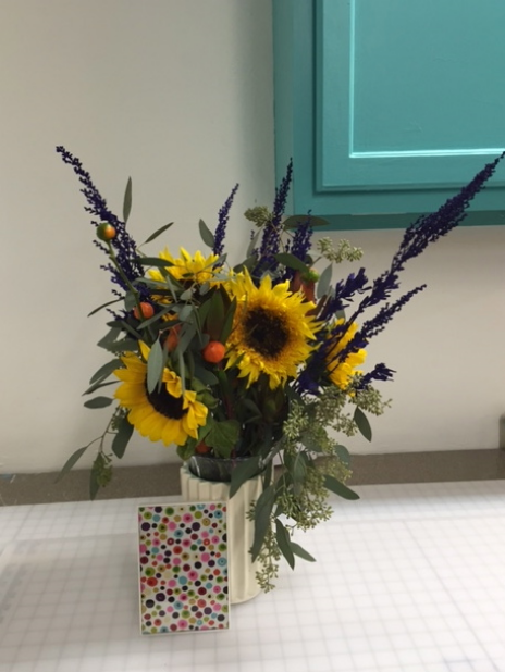 Pretty flowers given to me by a student and her mom in celebration of the studio!