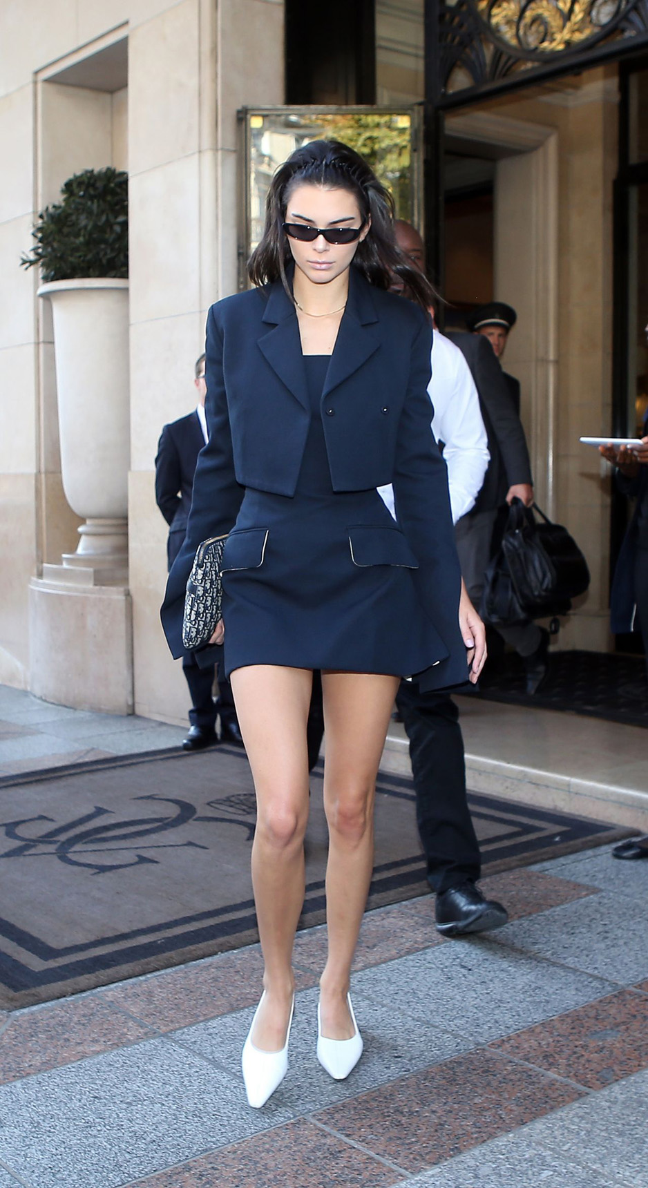 PARIS STREET STYLE - Kendall Jenner in Marina Moscone, Ellery, and Andy Wolf