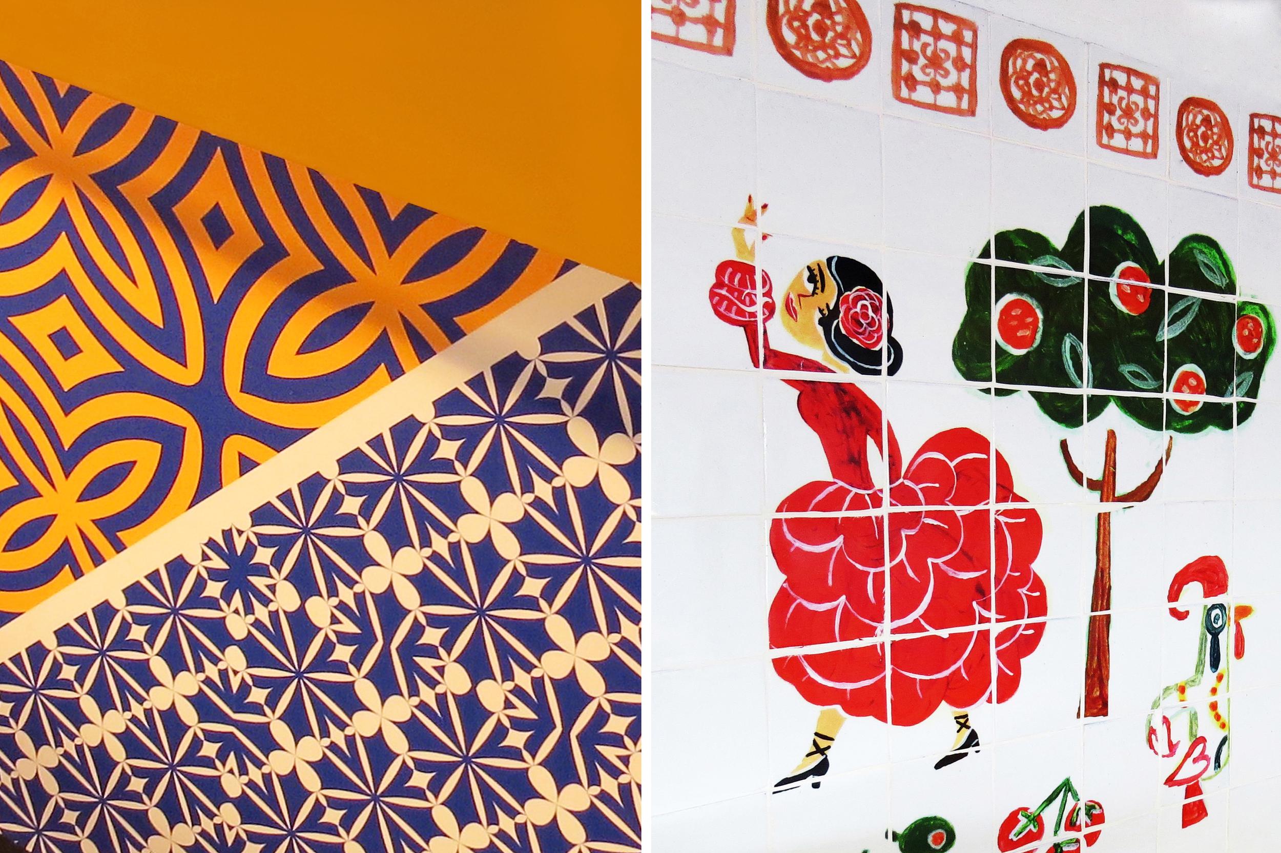 Salt Design Illachi restaurant interior design illustrated wall decor