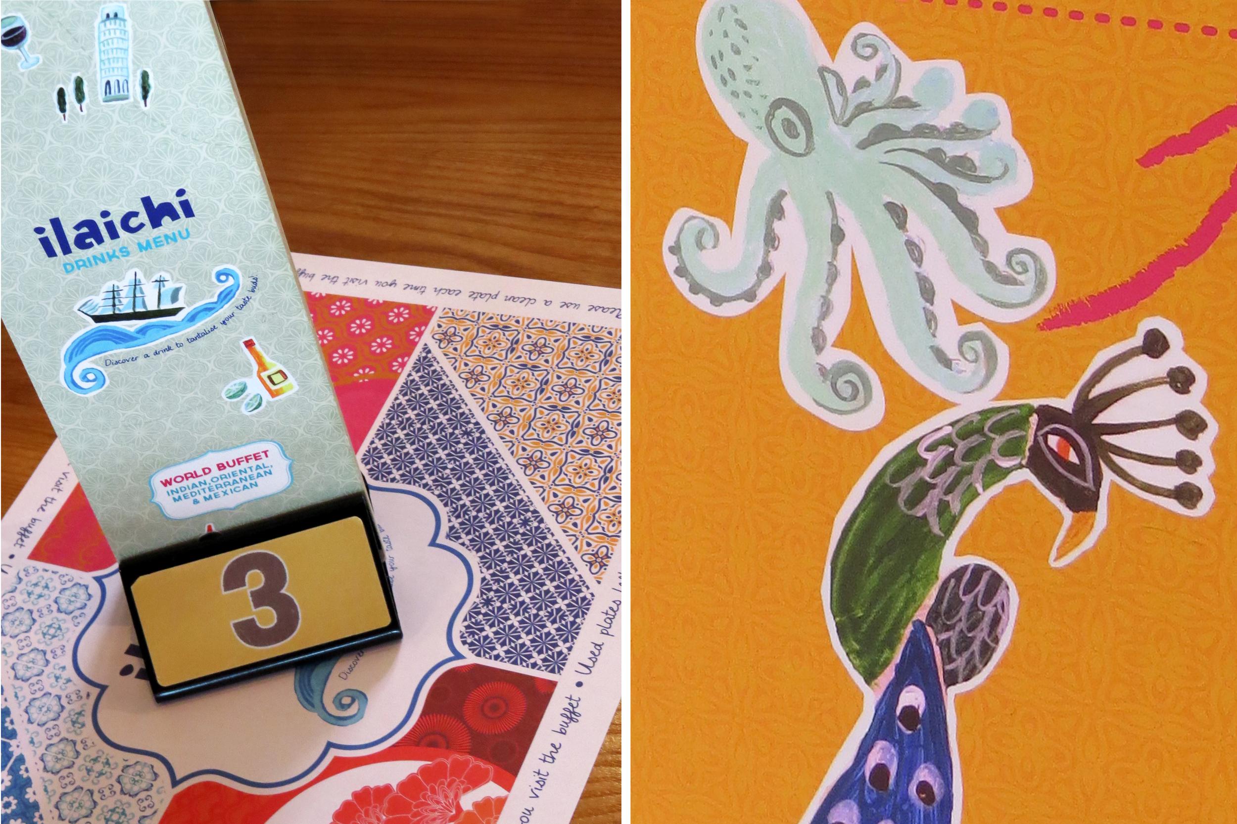 Salt Design Illachi restaurant interior design illustrated menu and map mural