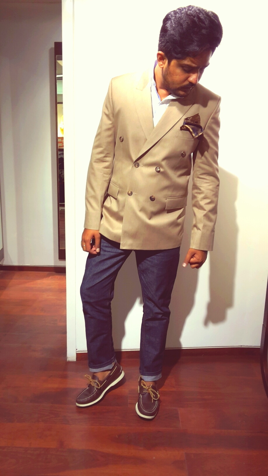 Khaki Double Breasted Jacket with Denim_Casual.jpg