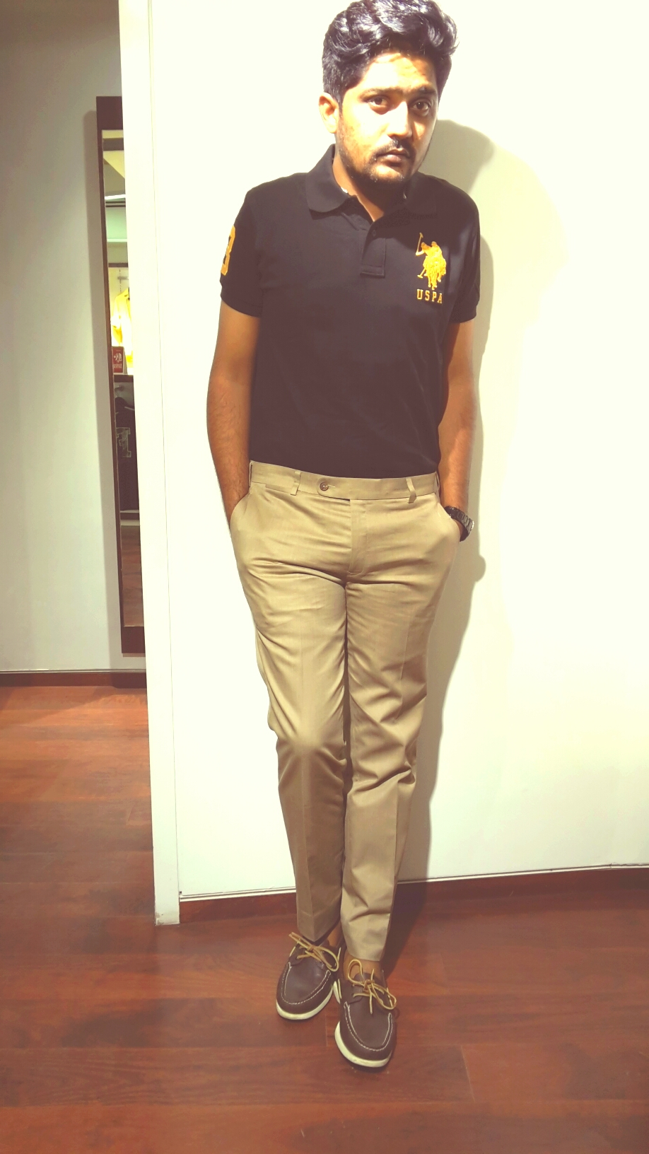 Khaki Suit Trouser with Black Polo tee_Casual.jpg