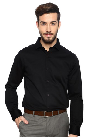 A black slim-fit cotton shirt is a must-have in every wardrobe.Best for work, parties and lot more.