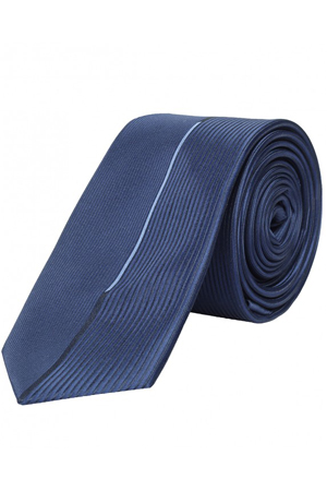 This navy tie is perfect for that important business meeting. Wear with Beige suit or Navy, your call.
