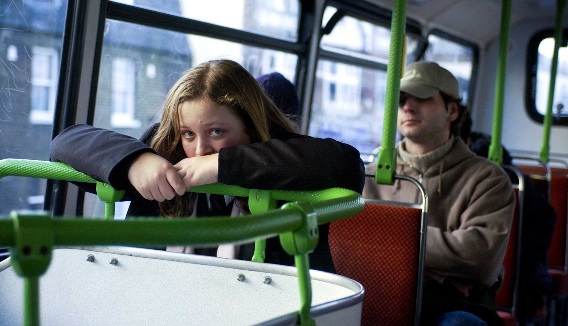 young girl on the bus