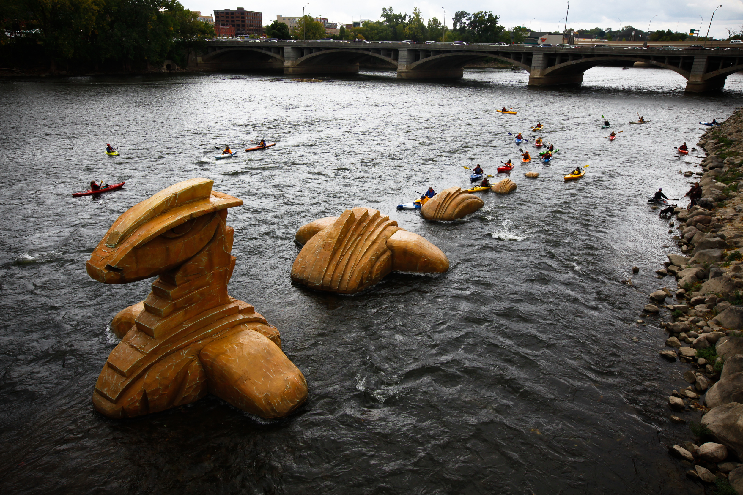 kayakers during Art Prize in Grand Rapids