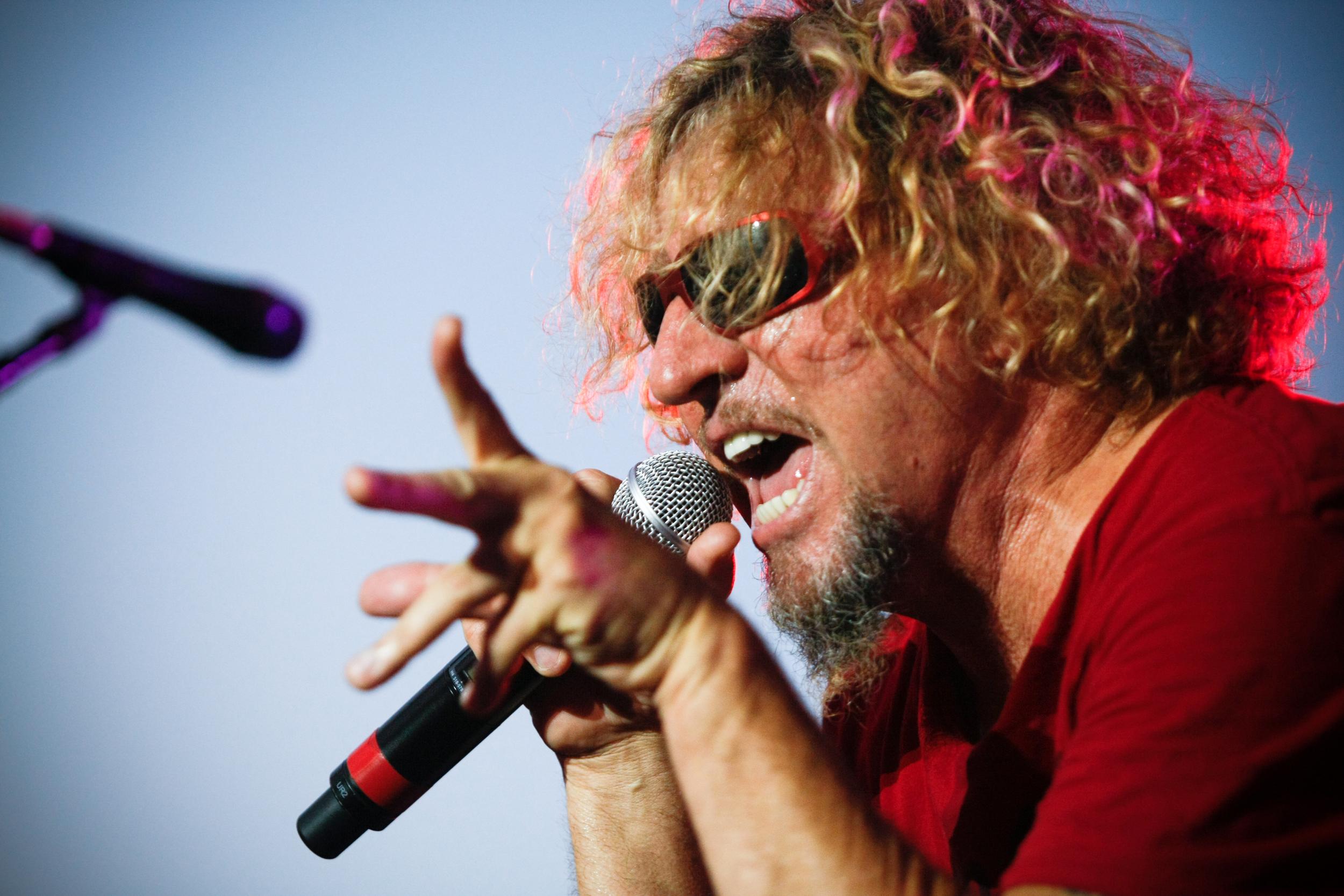 Sammy Hagar singing on stage