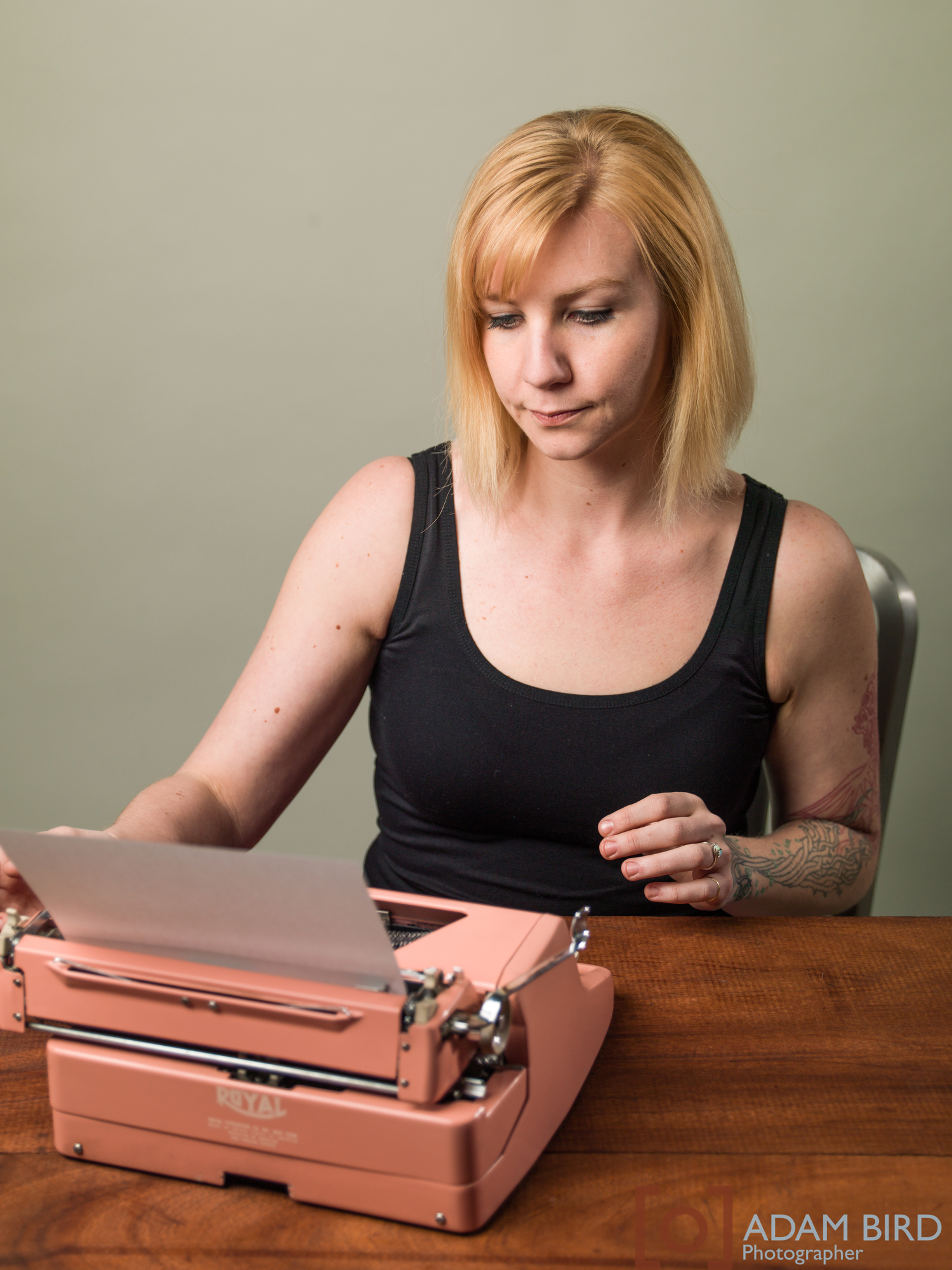Marjorie Steele working on typewriter