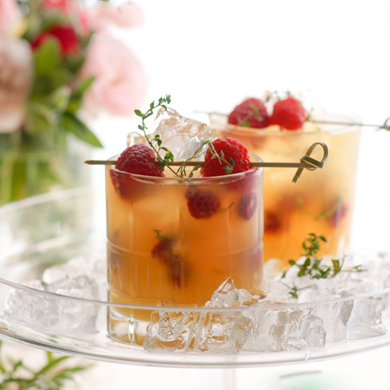 RHUBARB COOLERS WITH THYME AND RASPBERRIES