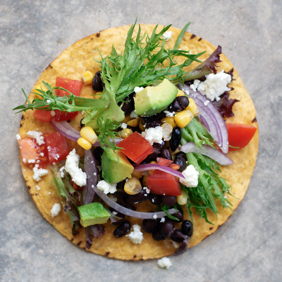 MEXICAN TOSTADAS WITH BEANS AND AVOCADO