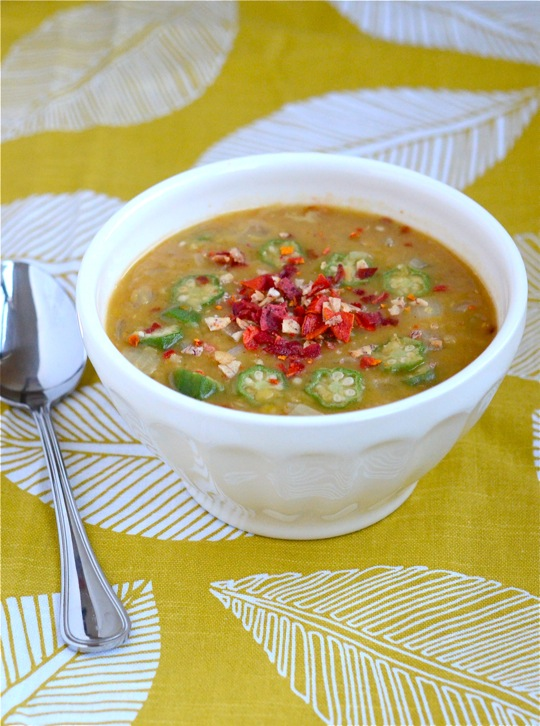 Red Lentil Soup with Okra