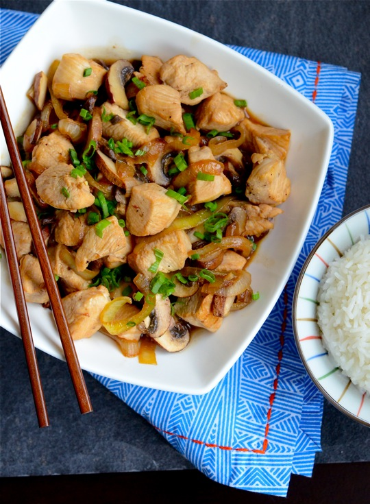 Brandied Chicken and Mushrooms in Oyster Sauce