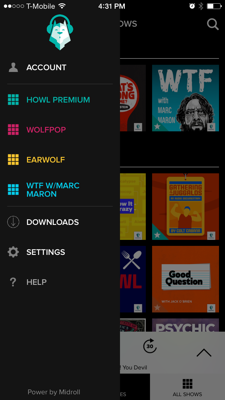 The Howl app main page with sidebar visible.