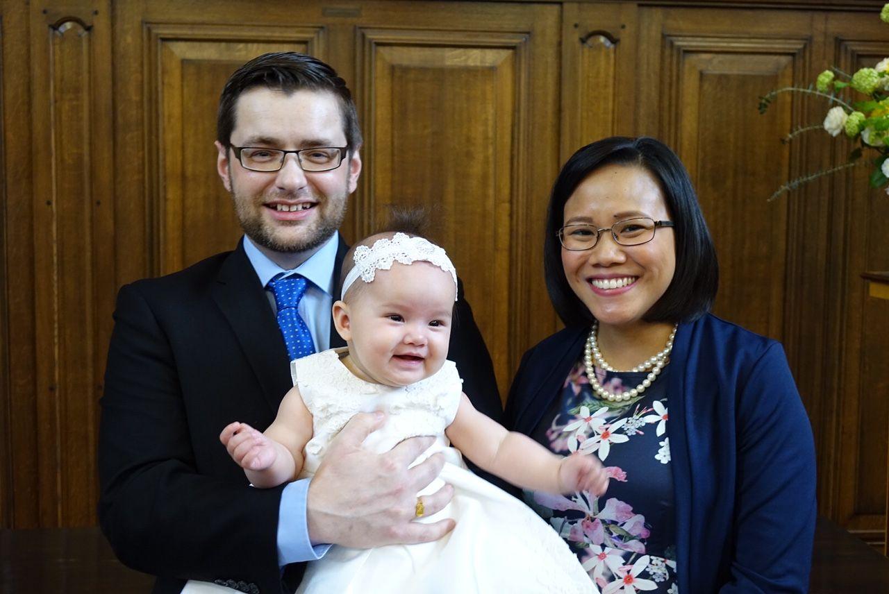 Official dedication photo. Seoras, Stephanie and Sofia