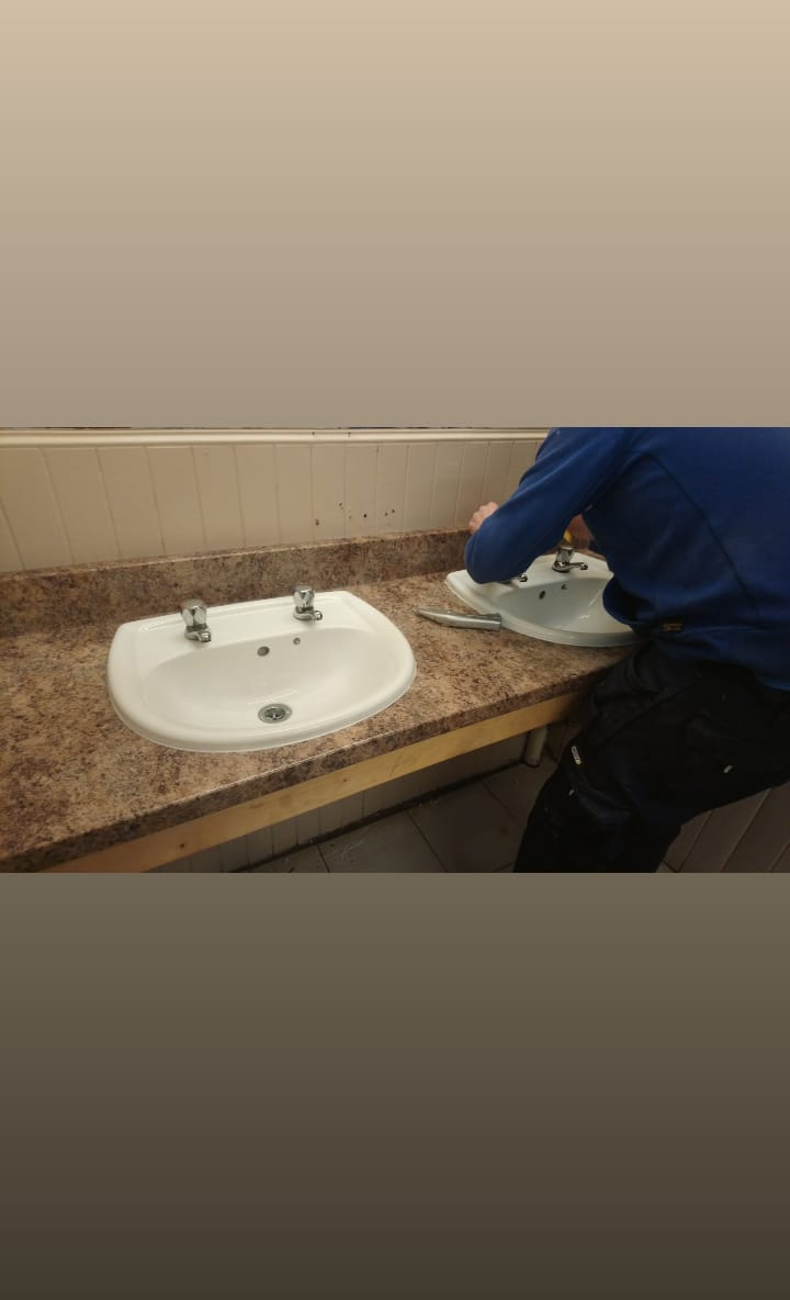 New sink counter tops being installed