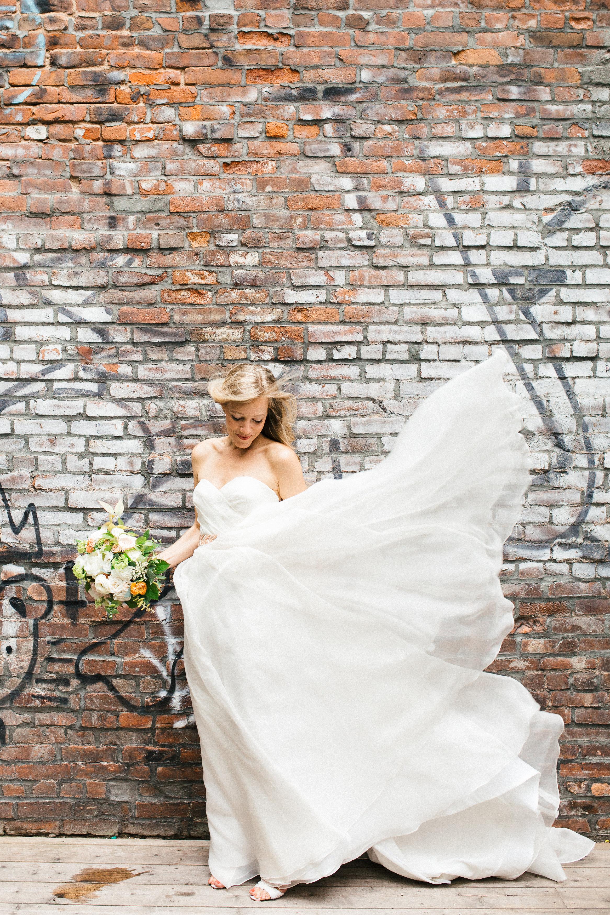 Soho Wedding Bride Brick Wall
